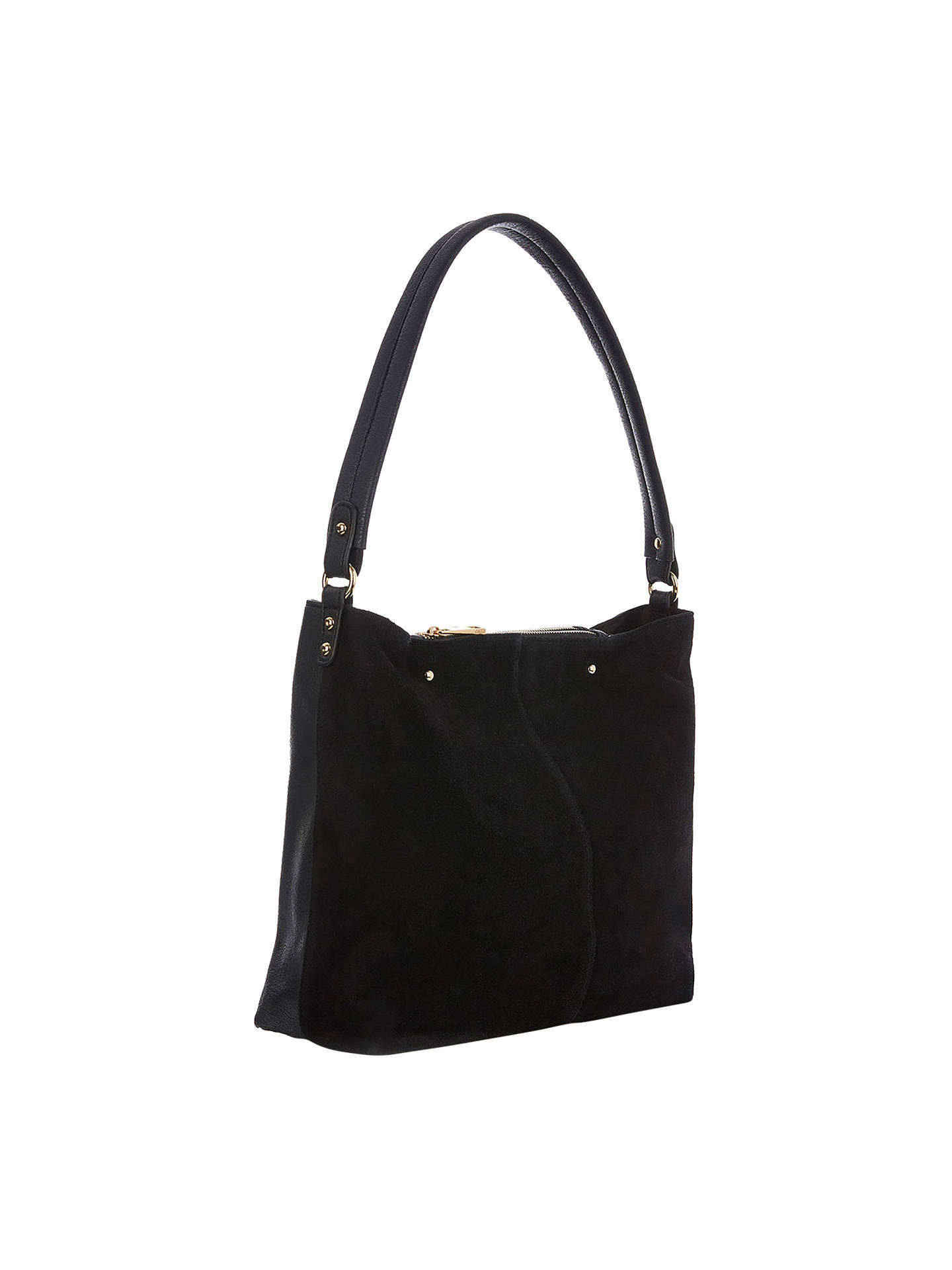 Oasis Ruby Suede Hobo Bag Black Online At Johnlewis