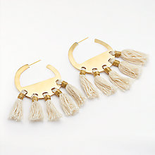 Buy AND/OR Tassel Hoop Earrings, Gold Online at johnlewis.com