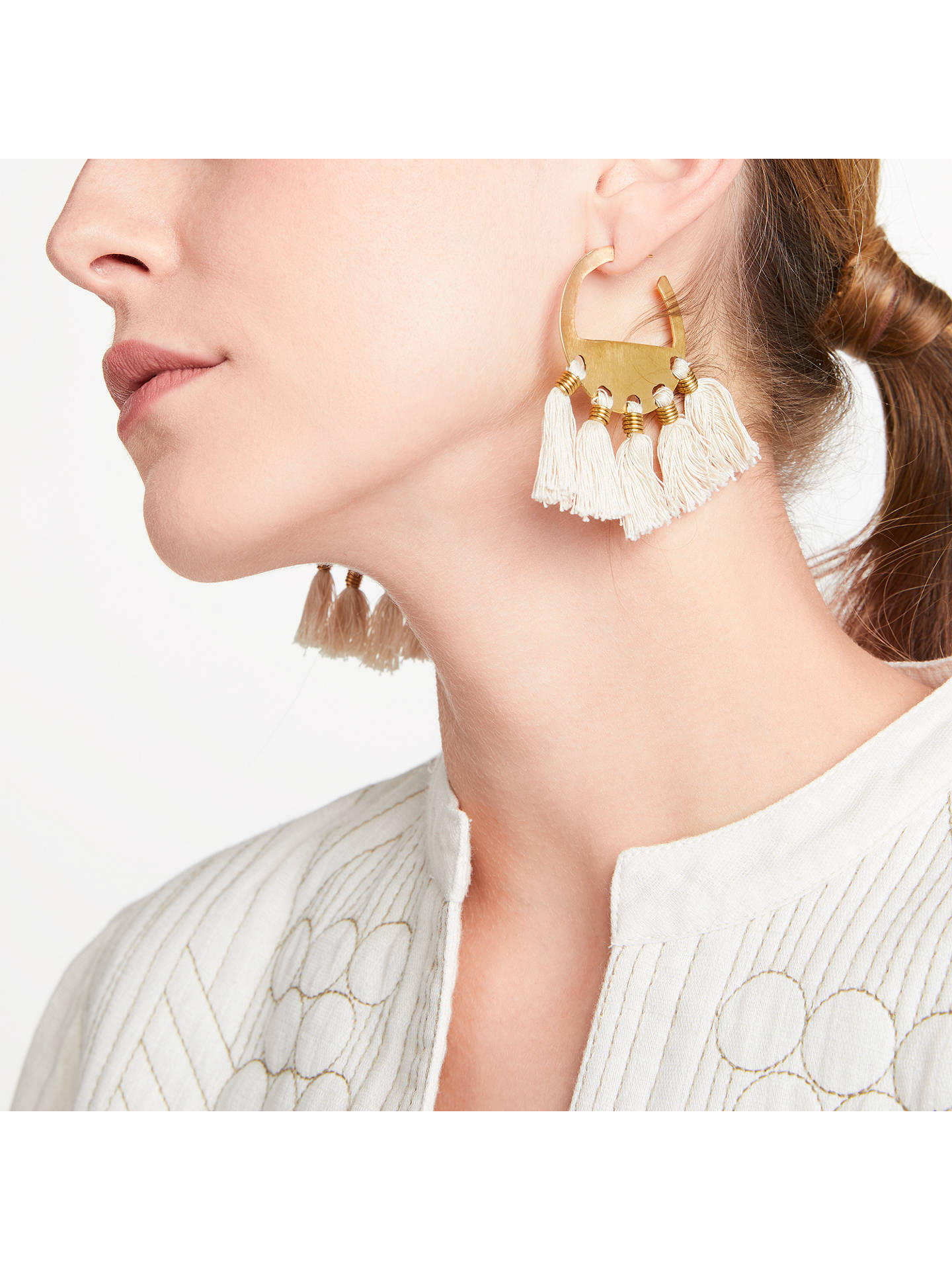 BuyAND/OR Tassel Hoop Earrings, Gold Online at johnlewis.com