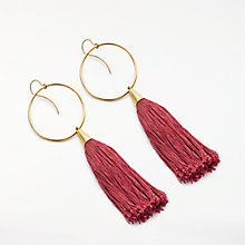 Buy AND/OR Hoop Tassel Drop Earrings, Gold/Red Online at johnlewis.com
