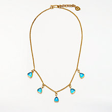 Buy AND/OR Oval Glass Drop Pendant Necklace, Gold/Turquoise Online at johnlewis.com