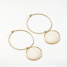 Buy AND/OR Double Circle Drop Hoop Earrings, Gold/Off White Online at johnlewis.com
