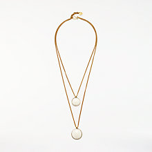 Buy AND/OR Double Layered Circle Pendant Necklace, Gold/Off White Online at johnlewis.com