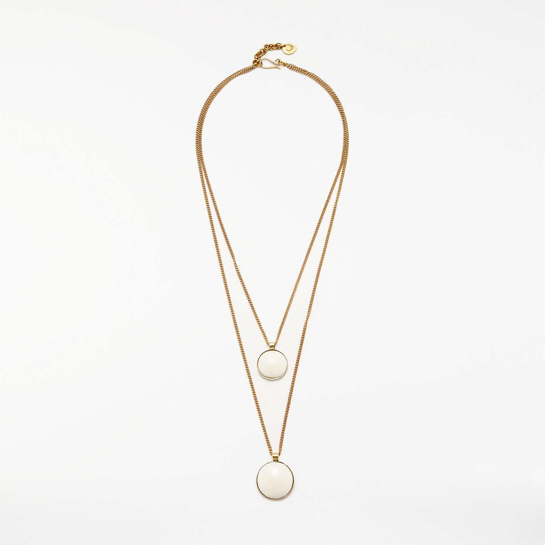 Andor double layered circle pendant necklace goldoff white at buyandor double layered circle pendant necklace goldoff white online at johnlewis aloadofball Choice Image