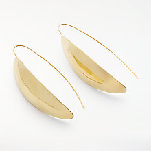 Buy AND/OR Hammered Leaf Drop Earrings, Gold Online at johnlewis.com