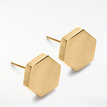 Buy AND/OR Hexagon Stud Earrings, Gold Online at johnlewis.com