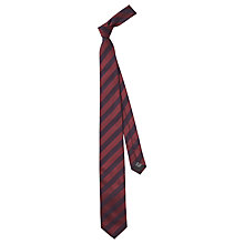 Buy HUGO by Hugo Boss Geo Stripe Silk Tie, Dark Red Online at johnlewis.com