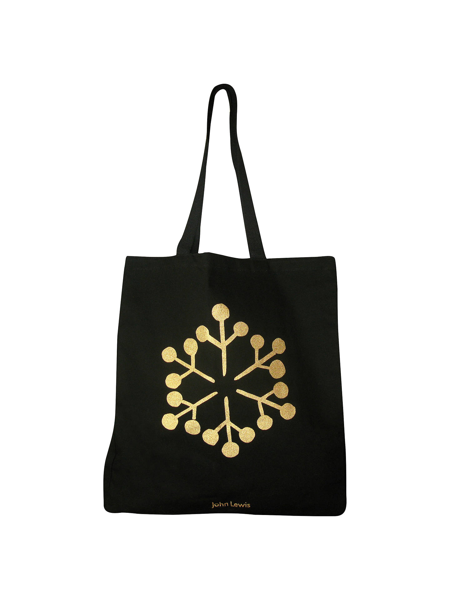 John Lewis Partners Christmas Snowflake Tote Bag Black Gold Online At Johnlewis