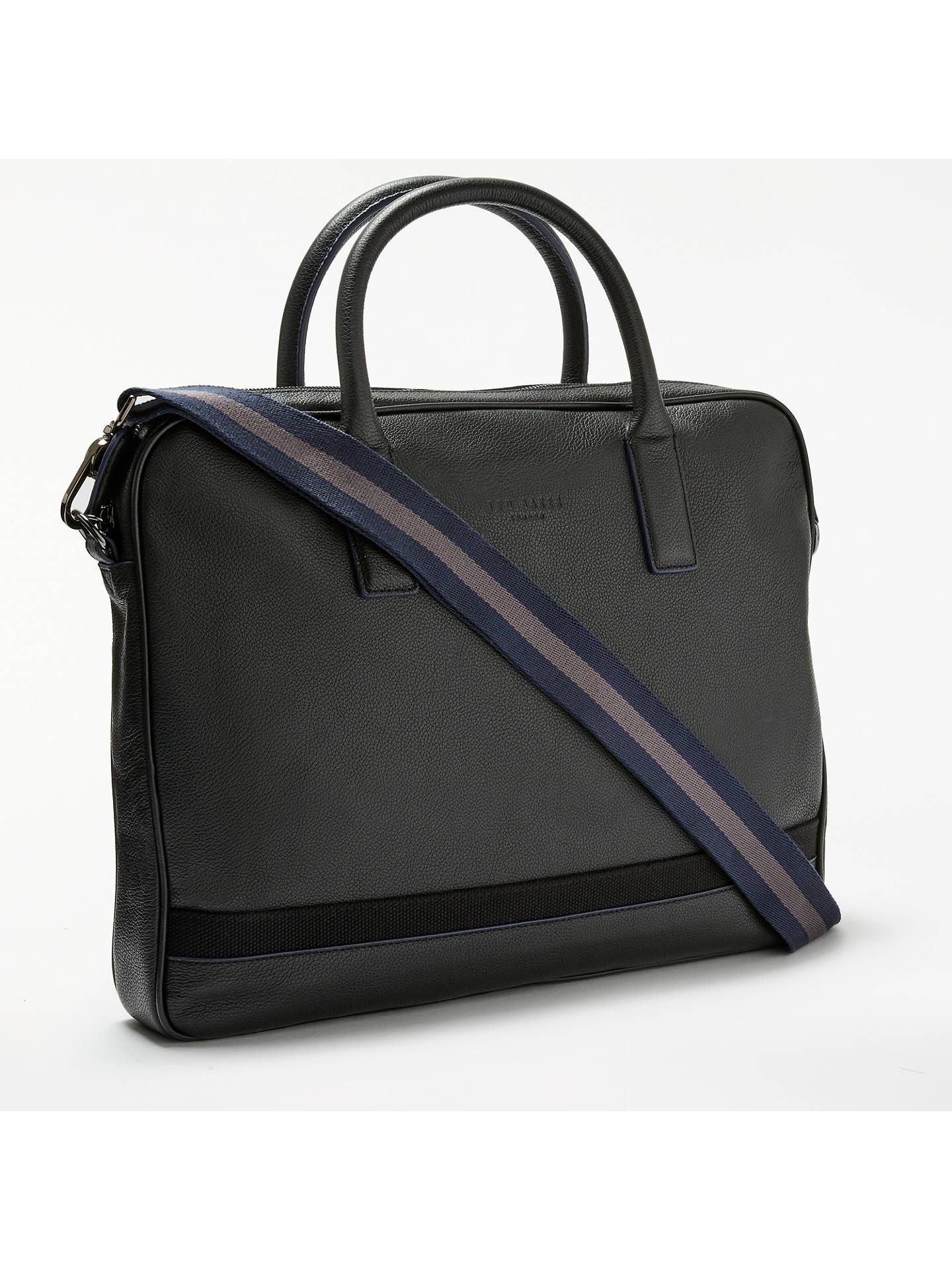 e1abed50d8 Buy Ted Baker Lowme Leather Document Bag, Black Online at johnlewis.com ...
