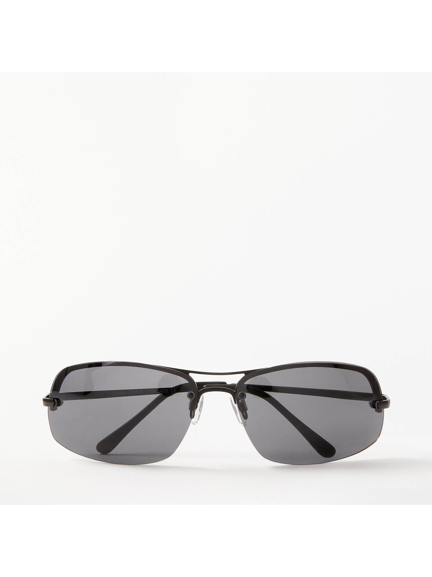 bd7ee567b4bf Buy John Lewis & Partners Semi Rimless Sports Wrap Sunglasses, Black Online  at johnlewis.