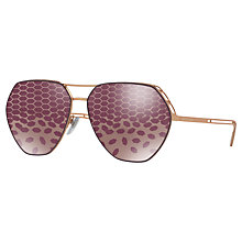 Buy Bvlgari BV6098 Aviator Sunglasses, Gold/Purple Online at johnlewis.com