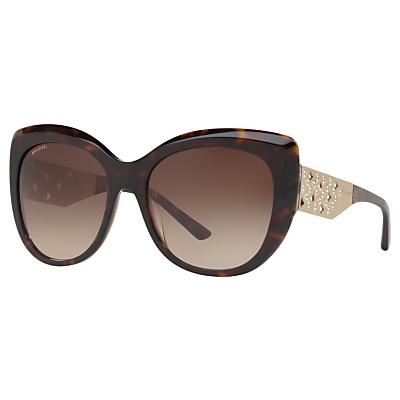 BVLGARI BV8198B Chunky Cat's Eye Sunglasses, Tortoise/Brown Gradient