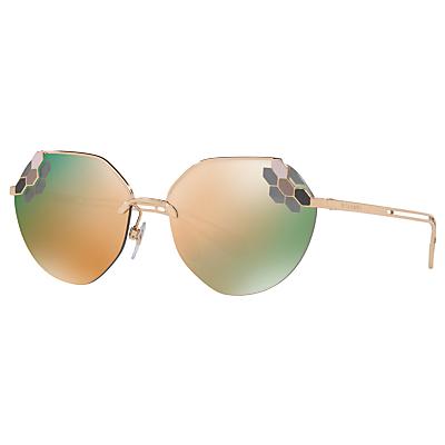 BVLGARI BV6099 Women's Aviator Sunglasses, Gold/Mirror Brown