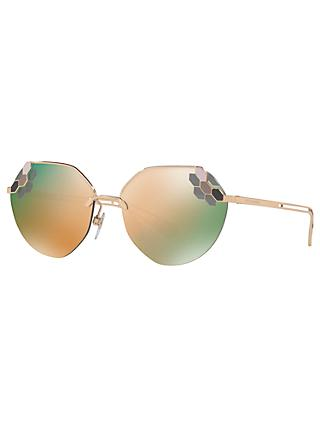 BVLGARI BV6099 Women's Aviator Sunglasses, Gold/Mirror Brown