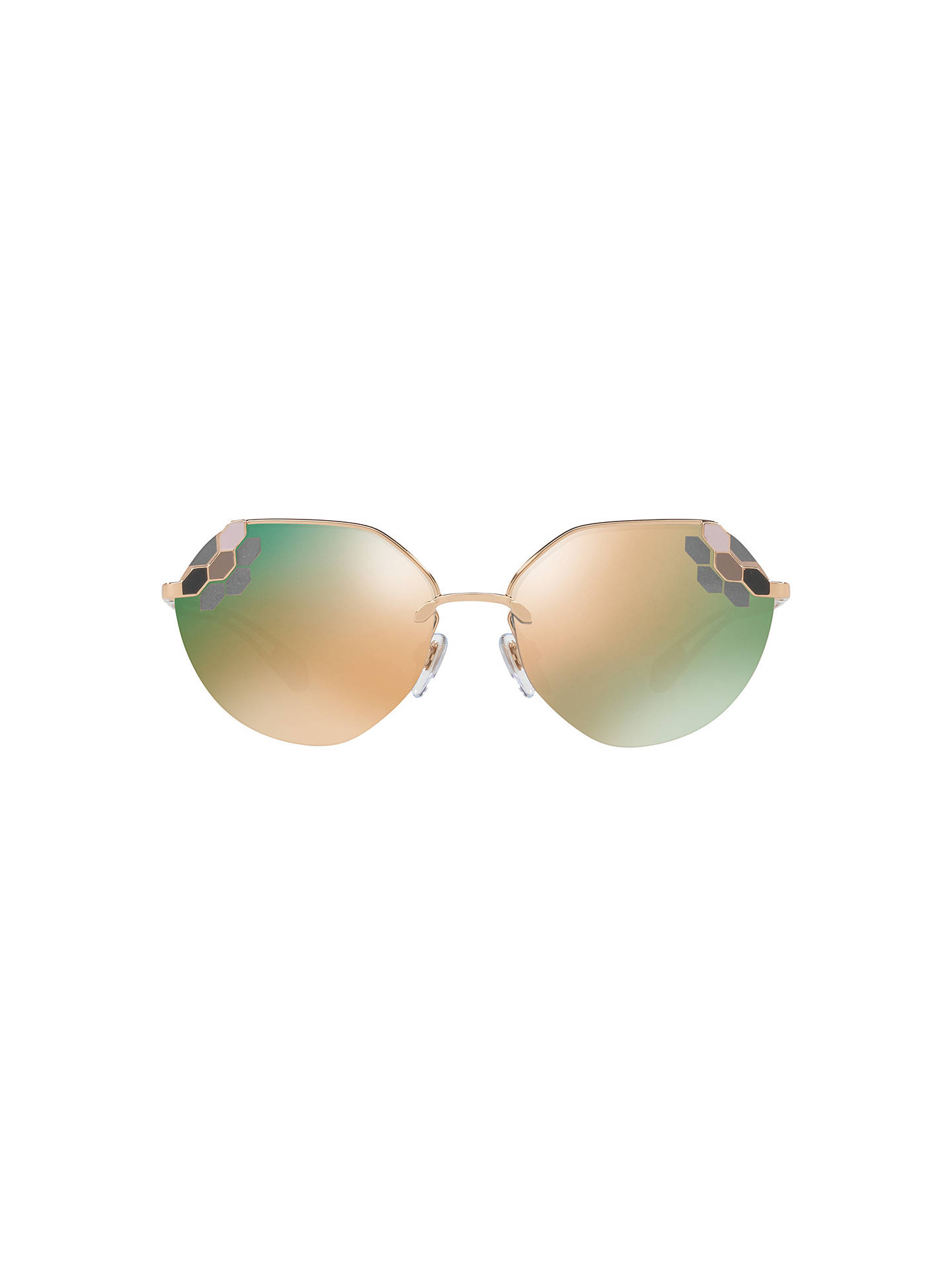 BuyBVLGARI BV6099 Women's Aviator Sunglasses, Gold/Mirror Brown Online at johnlewis.com