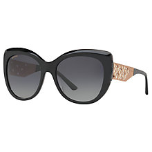 Buy BVLGARI BV8198B Polarised Chunky Cat's Eye Sunglasses, Black/Grey Gradient Online at johnlewis.com