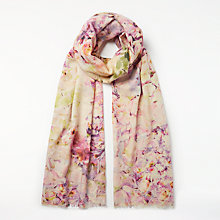 Buy John Lewis Wool Rich and Silk Hydrangea Floral Print Collage Scarf, Pink Mix Online at johnlewis.com