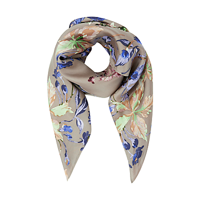 Modern Rarity Archive Lillie Silk Square Scarf, Taupe Mix