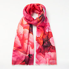 Buy John Lewis Wool Rich and Silk Summer Peony Floral Print Scarf, Coral/Multi Online at johnlewis.com