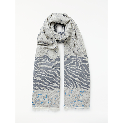 John Lewis Animal Print Jacquard Scarf, Blue Mix