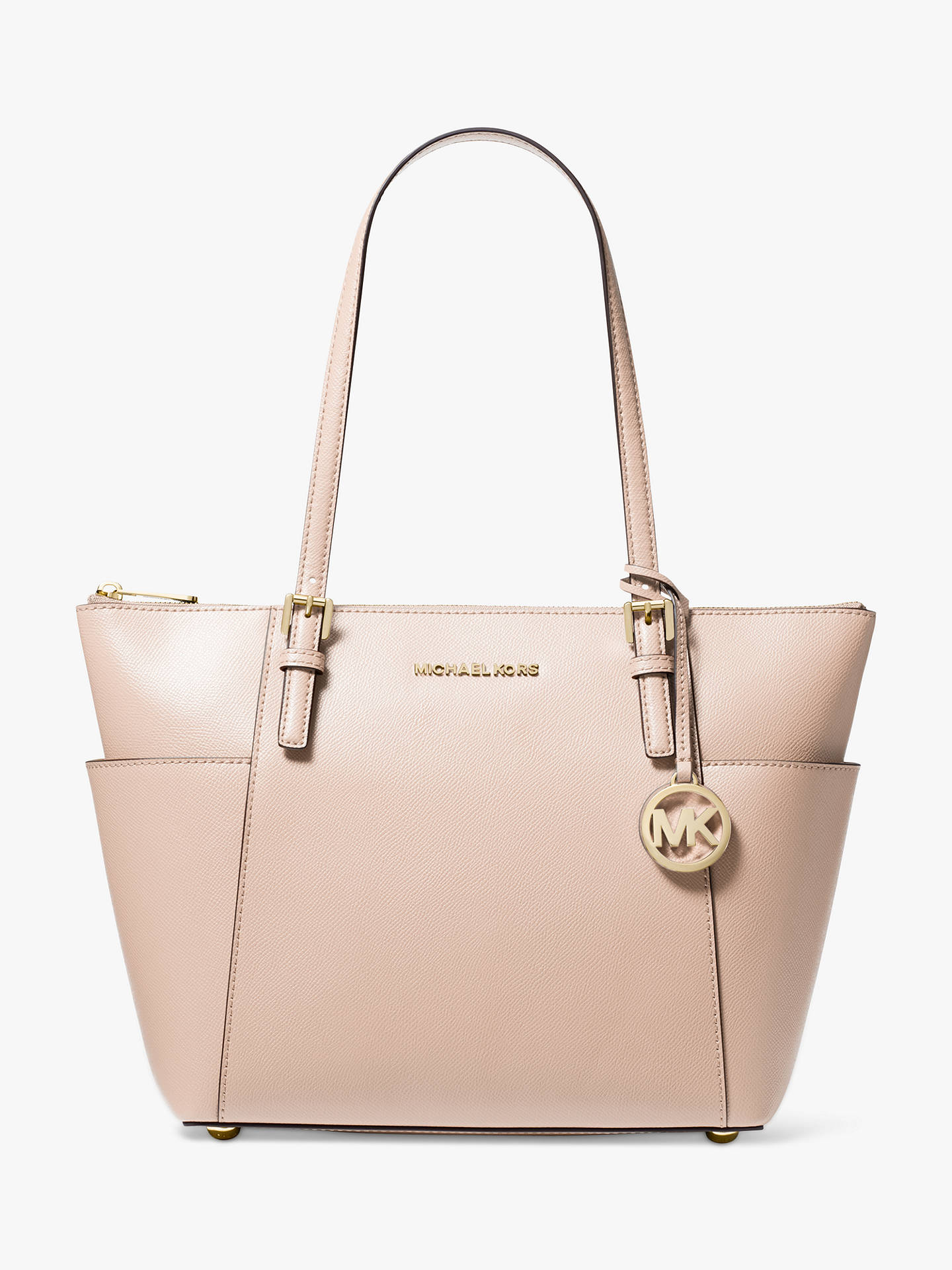 MICHAEL Michael Kors Jet Set EastWest Leather Tote Bag, Soft Pink
