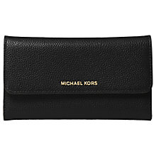 Buy MICHAEL Michael Kors Mercer  Leather Large Trifold Purse, Black Online at johnlewis.com