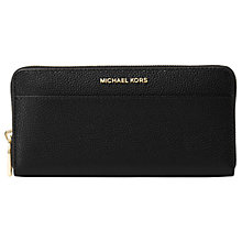 Buy MICHAEL Michael Kors Mercer Leather Continental Purse, Black Online at johnlewis.com