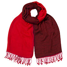 Buy East Reverse Check Wool Scarf, Scarlet Online at johnlewis.com