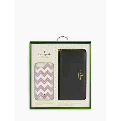 Image of kate spade new york Black Purse and Chevron Case gift set for iPhone 7 Plus/8 Plus