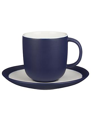 John Lewis & Partners Puritan Cup and Saucer, 240ml, Midnight Blue