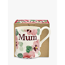 Buy Emma Bridgewater Pink Pansy Half Pint 'Mum' Mug, White/Pink, 284ml Online at johnlewis.com