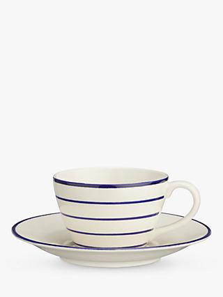 John Lewis & Partners Harbour Striped Cup and Saucer, White/Blue, 225ml