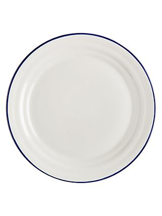 John Lewis & Partners Harbour Blue Rim Dinner Plate, White/Blue, Dia.28.5cm