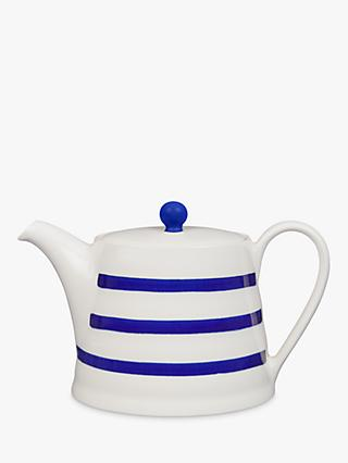 John Lewis & Partners Harbour Striped 4 Cup Teapot, White/Blue, 1.1L