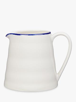 John Lewis & Partners Harbour Blue Rim Jug, White/Blue, 750ml