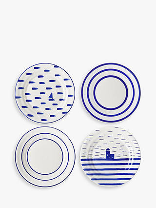 Buy John Lewis & Partners Harbour Small Plates, White/Blue, Dia.18.3cm, Set of 4 Online at johnlewis.com