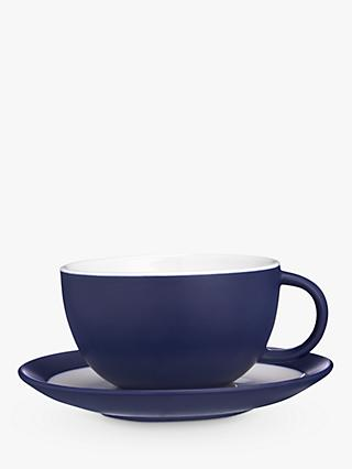John Lewis & Partners Puritan Cappuccino Cup and Saucer, 375ml, Midnight Blue