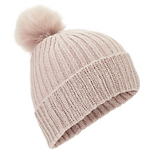 Buy Miss Selfridge Ribbed Pom Pom Hat, One Size, Pink Online at johnlewis.com
