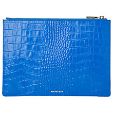 Buy Whistles Shiny Croc Leather Medium Clutch Bag, Sea Blue Online at johnlewis.com