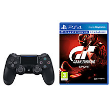Buy Gran Turismo Sport, PS4 and Sony PS4 DUALSHOCK 4 Wireless Controller, Black Online at johnlewis.com