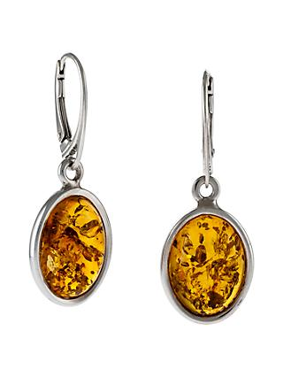 Be-Jewelled Oval Amber Drop Earrings