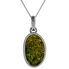 Buy Be-Jewelled Oval Amber Pendant Necklace, Green Online at johnlewis.com