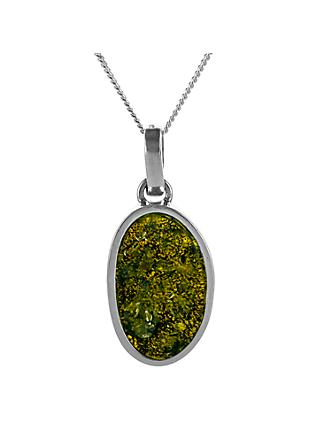 Be-Jewelled Oval Amber Pendant Necklace, Green