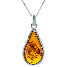 Buy Be-Jewelled Pear Amber Pendant Necklace, Cognac Online at johnlewis.com