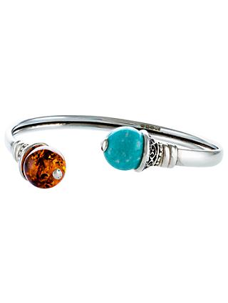 Be-Jewelled Amazonite and Amber Open Cuff, Cognac/Cyan Green