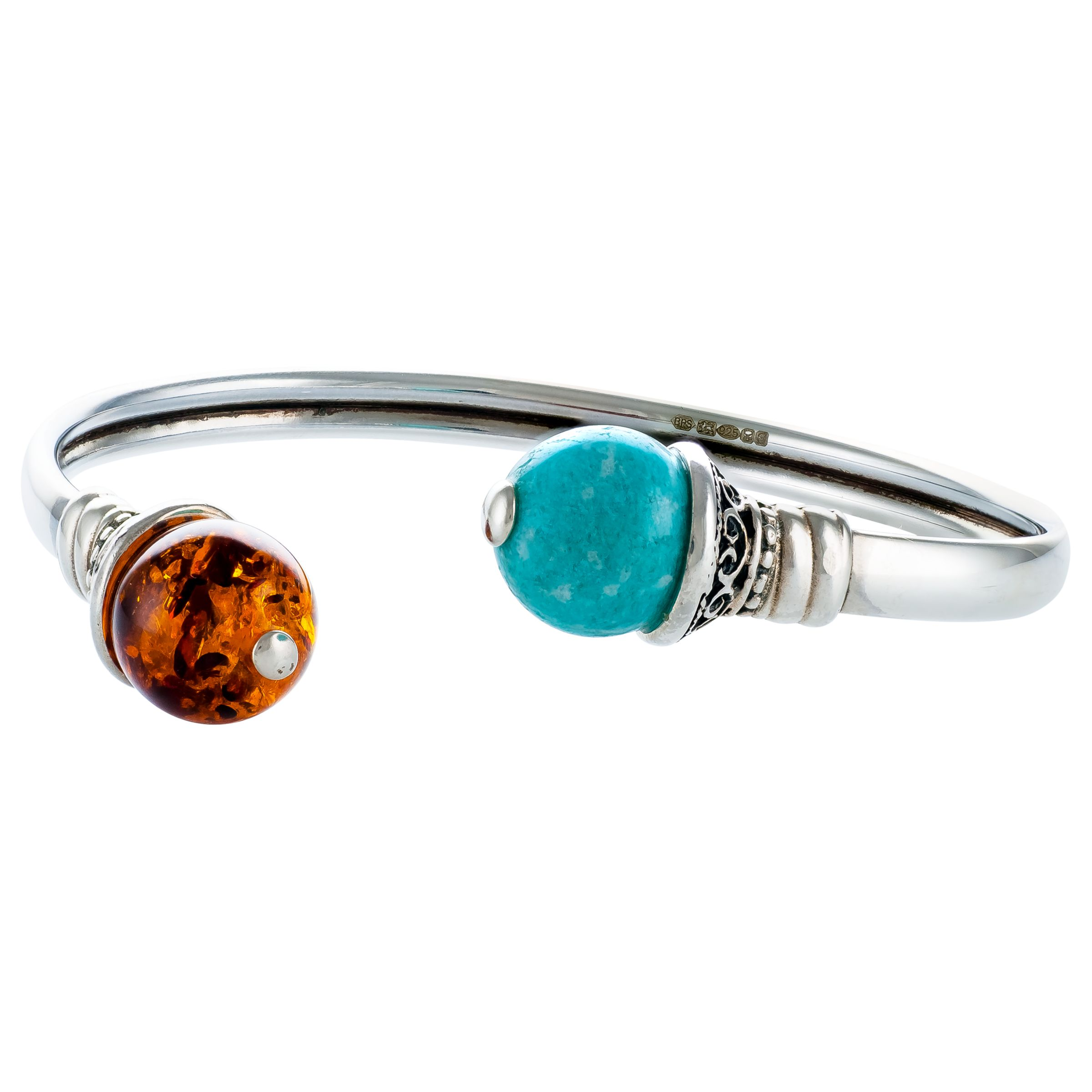 Be-Jewelled Be-Jewelled Amazonite and Amber Open Cuff, Cognac/Cyan Green