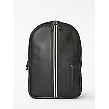 Buy John Lewis Lisbon Leather Stripe Backpack, Black Online at johnlewis.com