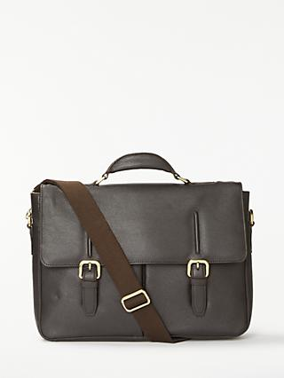 John Lewis & Partners Salzburg Leather Mini Briefcase, Brown