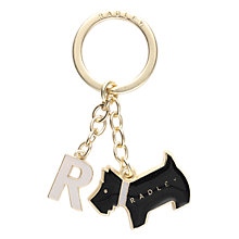 Buy Radley Pageant Initial Metal Keyring, Black Online at johnlewis.com