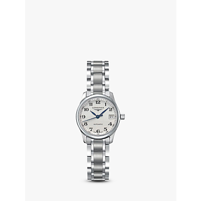 Longines L21284786 Women's Master Collection Automatic Date Bracelet Strap Watch, Silver